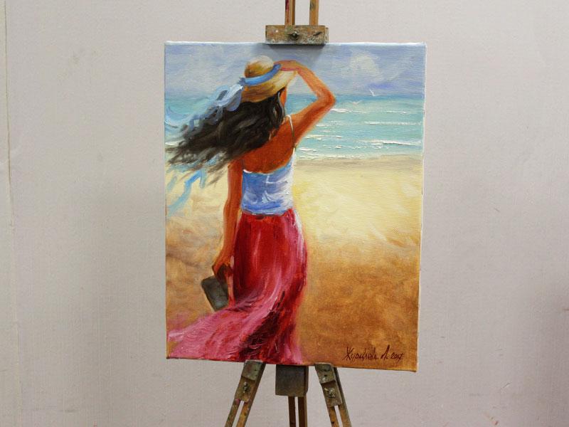 """Живопись маслом """"Девушка у океана"""" на мольберте без рамки, мастер-класс"""