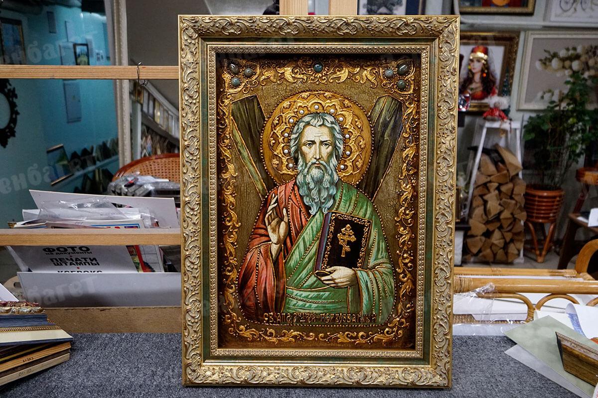 """Икона """"Святой апостол Андрей Первозданный"""" в золотой багетной рамке"""
