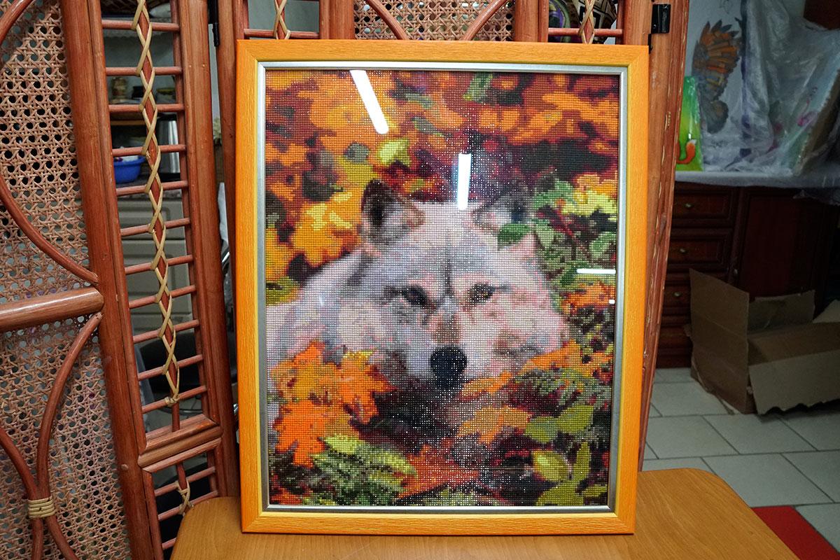 """Алмазная мозайка """"Волк"""" в оранжевой багетной рамке"""