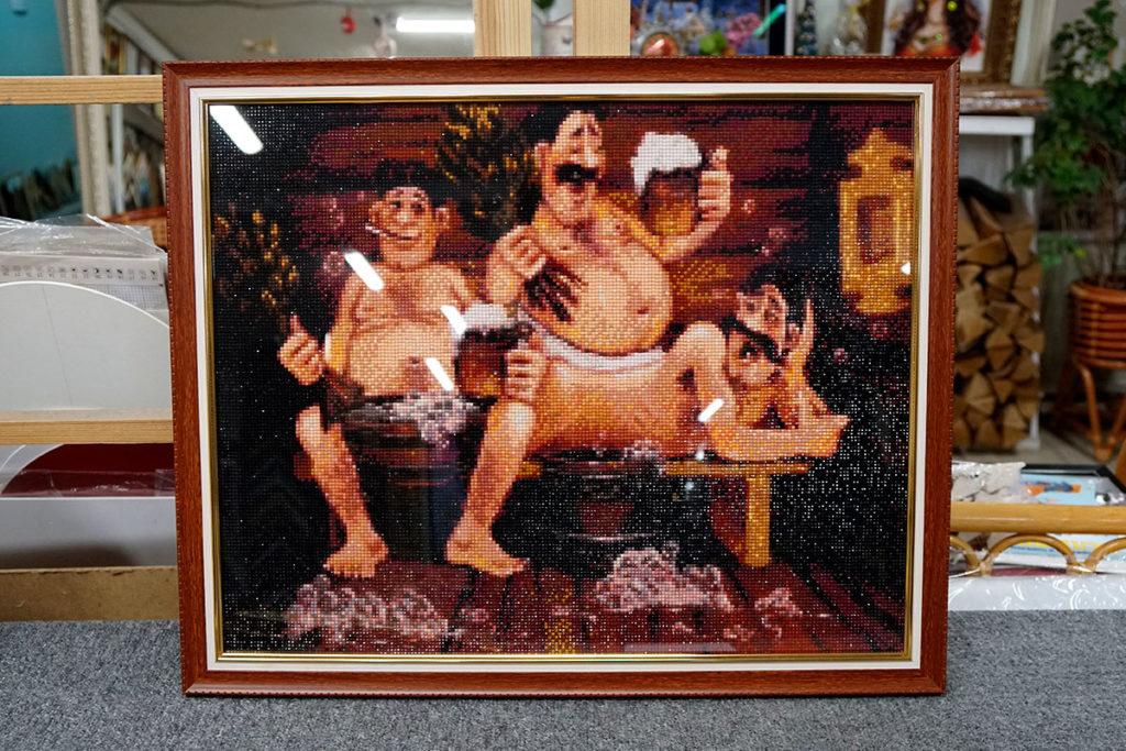 """Алмазная мозайка """"С легким паром"""" в коричневой багетной рамке"""