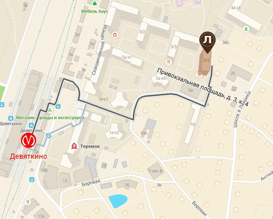 Багетная мастерская Ленбагет, схема проезда, Привокзальная площадь 3, метро Девяткино