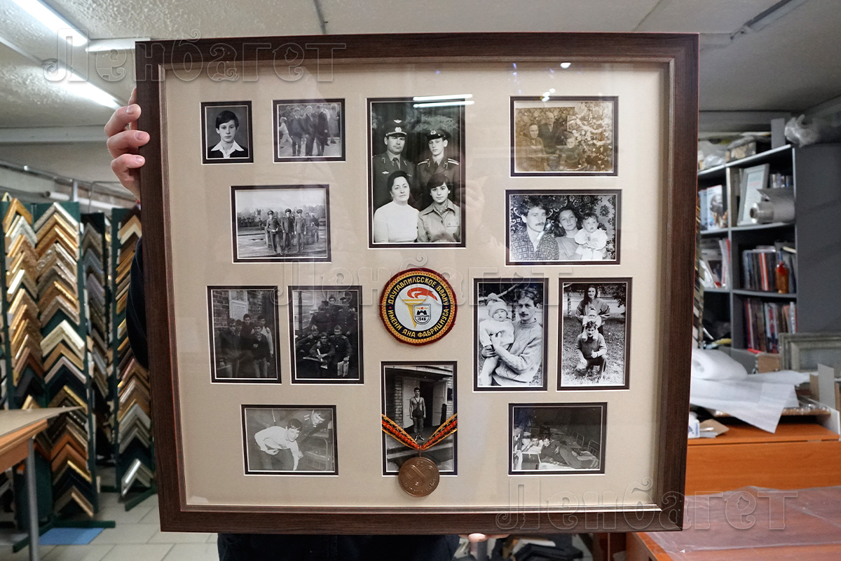 Коллаж из семейных фотографий к 9-ому мая в коричневой багетной рамке