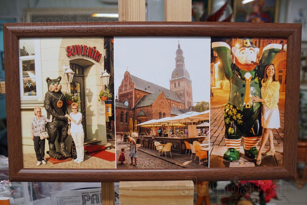 """Фото """"Туристические. Коллаж"""" в коричневой багетной рамке"""