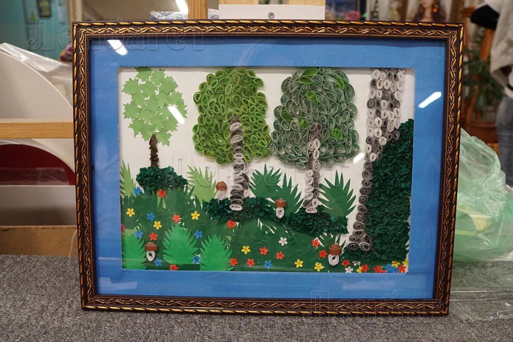 """Детский рисунок """"Лесная поляна"""" в бронзовой багетной рамке"""