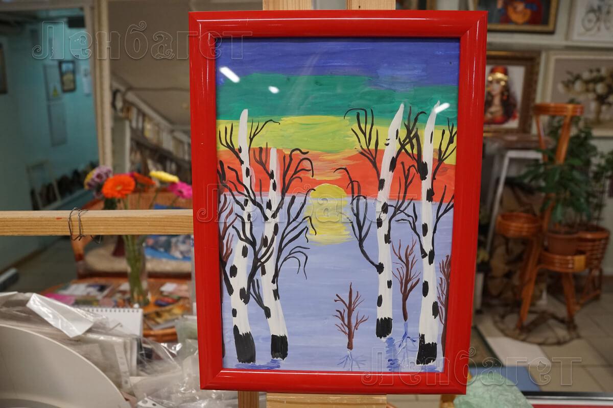 """Детский рисунок """"Закат"""" в красной багетной рамке"""