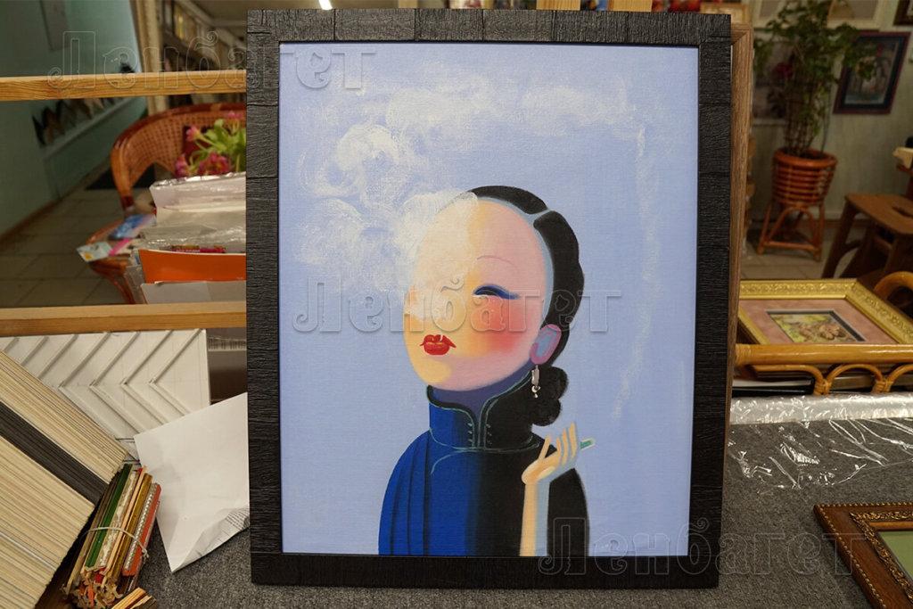 """Живопись """"Девушка с сигаретой"""" в черной багетной рамке"""
