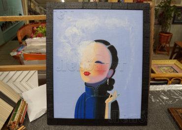 Девушка с сигаретой. Живопись в багетной раме