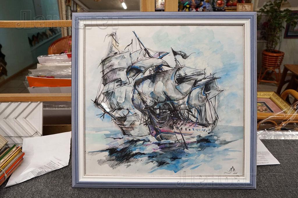 """Живопись """"Корабли"""" в голубой багетной рамке"""