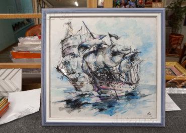 Корабли. Рисунок в голубой рамке