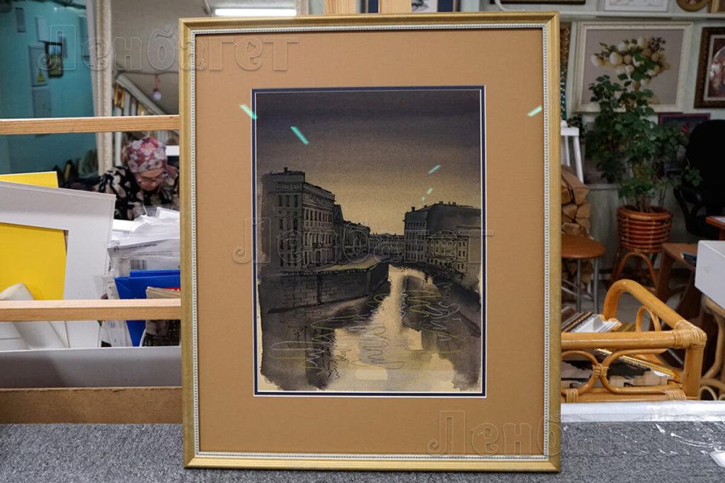 """Живопись """"Канал"""" в золотой багетной рамке с широким паспарту"""
