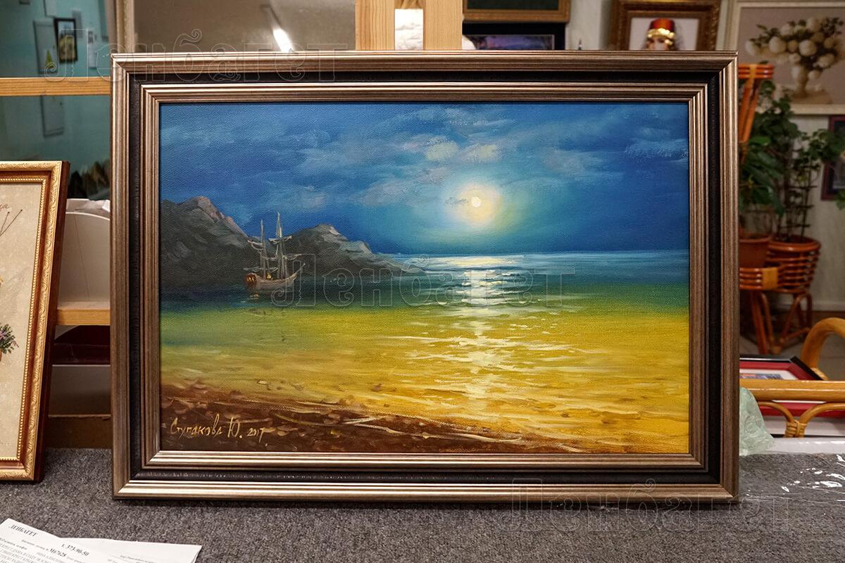 """Живопись """"Берег моря"""" в бронзовой багетной рамке"""