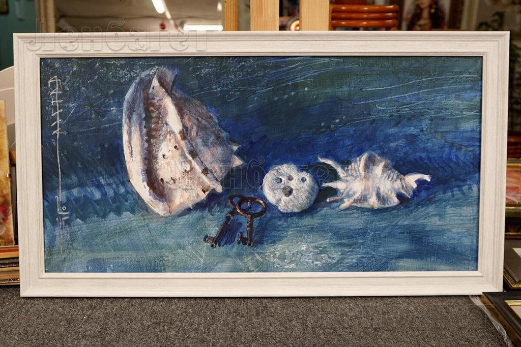 """Живопись """"Морское дно"""" в белой багетной рамке"""