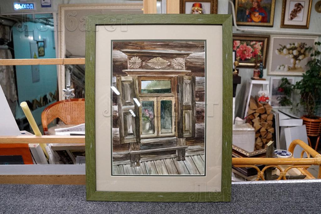 """Живопись """"Окно"""" в зеленой багетной рамке с широким паспарту"""