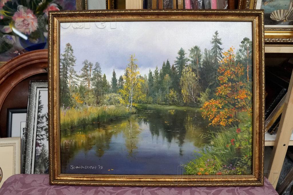 """Живопись """"Вид на озеро"""" в золотой багетной рамке"""