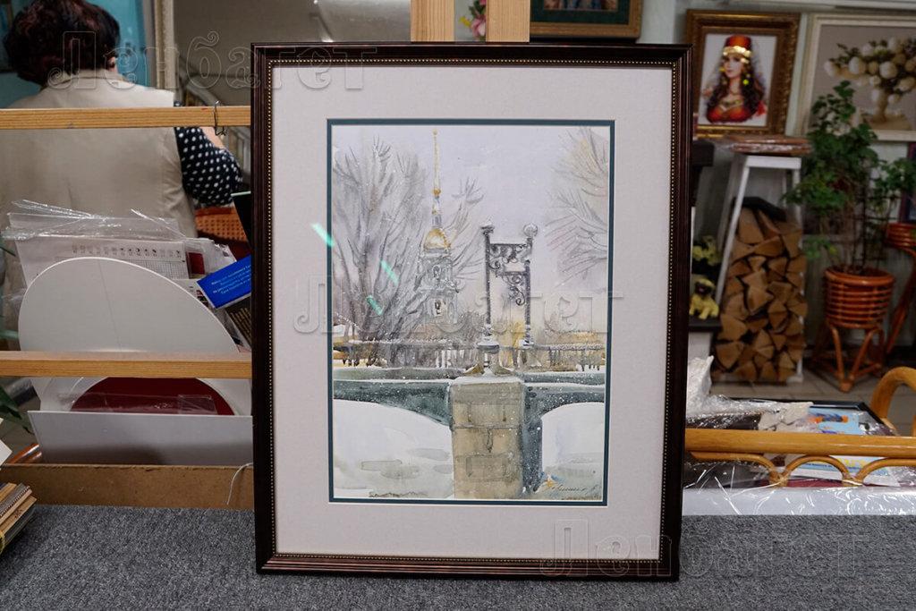 """Рисунок """"Мост"""" в черной багетной рамке с широким паспарту"""
