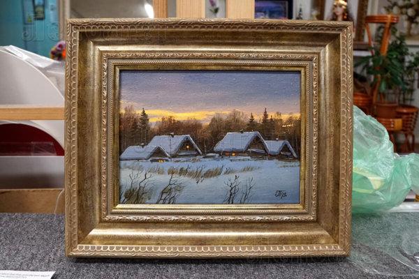 """Живопись """"Зима"""" в золотой багетной рамке"""