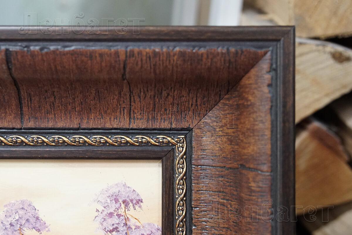 Коричневая багетная рамка для вышивки крестом Домик в лесу