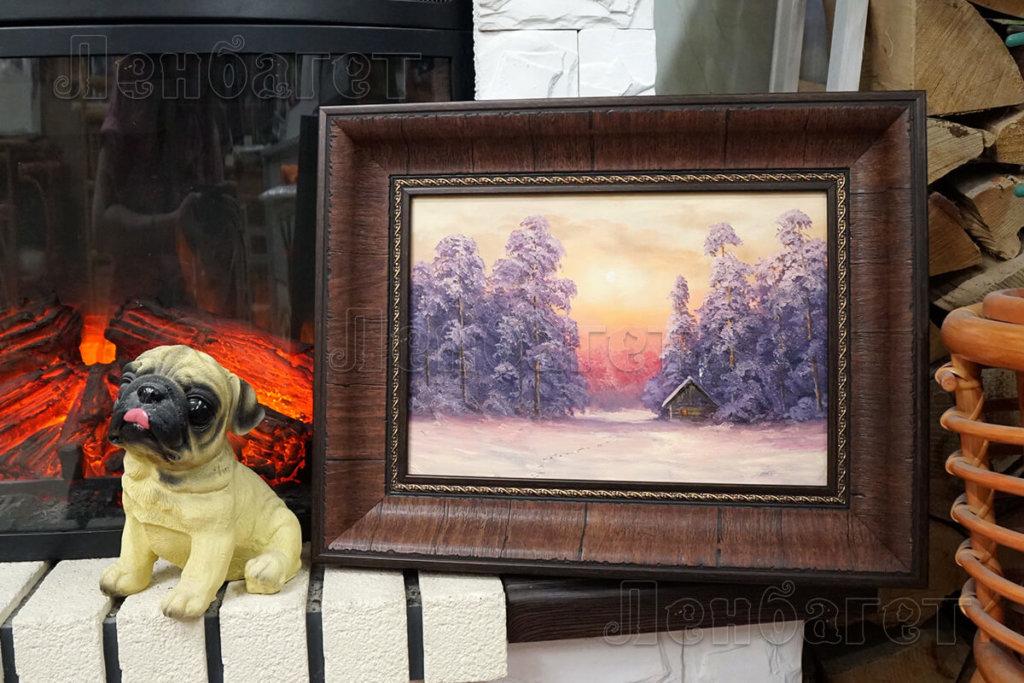 """Вышивка крестом """"Домик в лесу"""" оформлена в коричневую багетную рамку"""