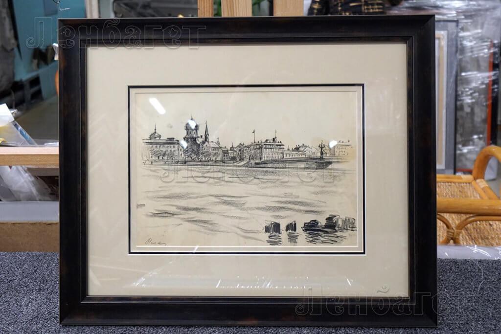 """Рисунок """"Город у реки"""" в черной багетной рамке с широким паспарту"""