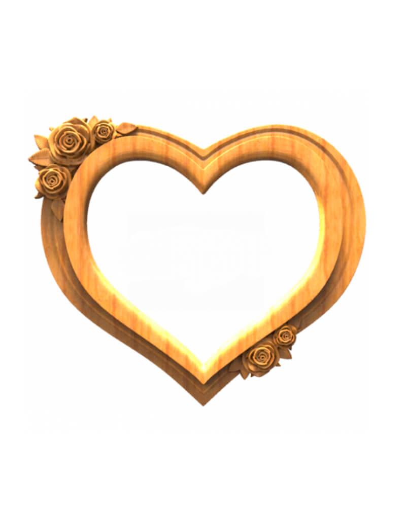 Объемная рамка в формке сердца с узором роз для оформления под дерево