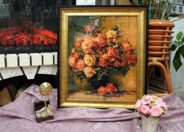Букет роз. Вышивка в багетной рамке