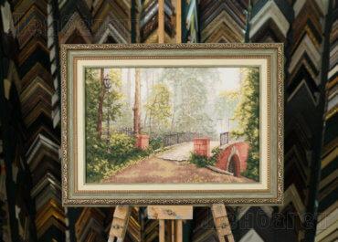 Мост в старом парке. Вышивка крестиком